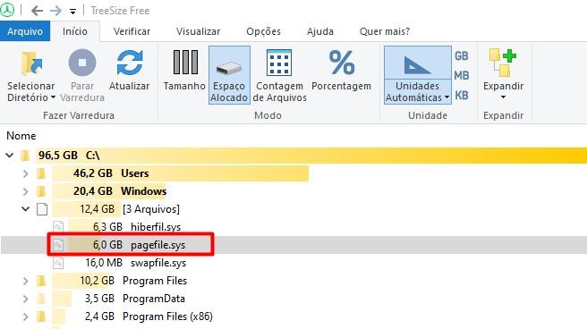 Arquivo de paginação pagefile.sys do sistema operacional